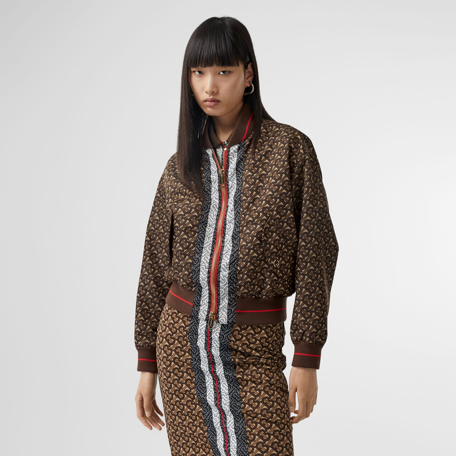Monogram Stripe Print Nylon Bomber Jacket in Bridle Brown - Women | Burberry - gallery image 5