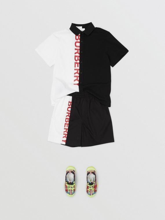 Logo Print Two-tone Cotton Drawcord Shorts in Black