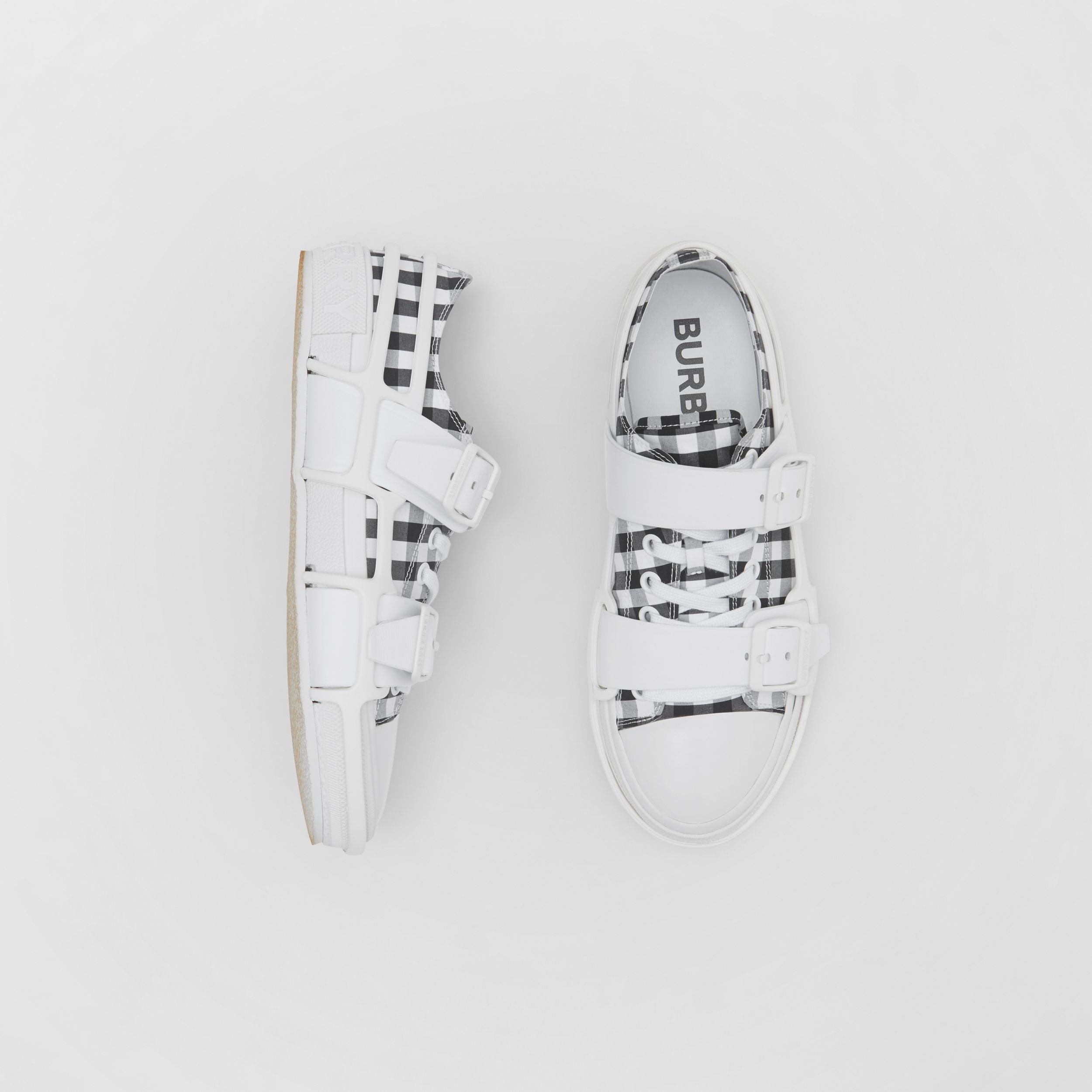 Gingham Cotton and Leather Webb Sneakers in White/black - Men | Burberry - 1
