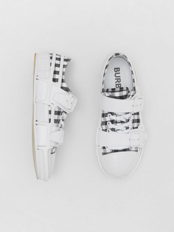 Gingham Cotton and Leather Webb Sneakers in White/black