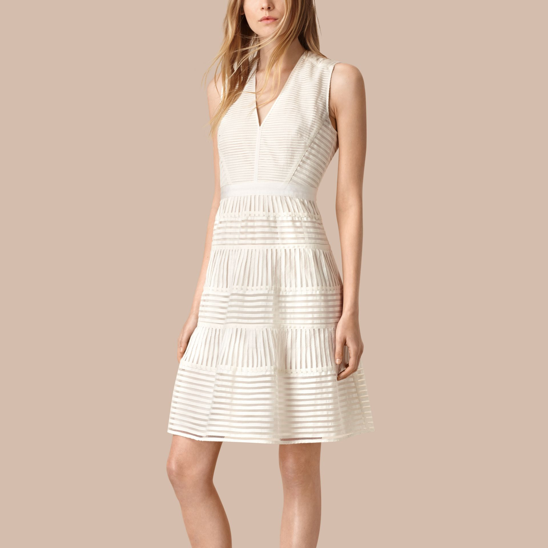White Panelled Mesh Dress White - gallery image 1