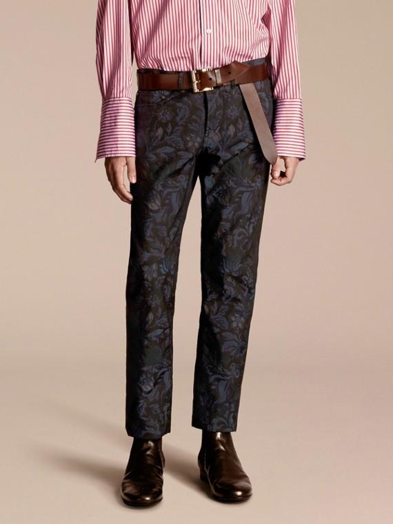 Slim Fit Floral Jacquard Jeans Navy