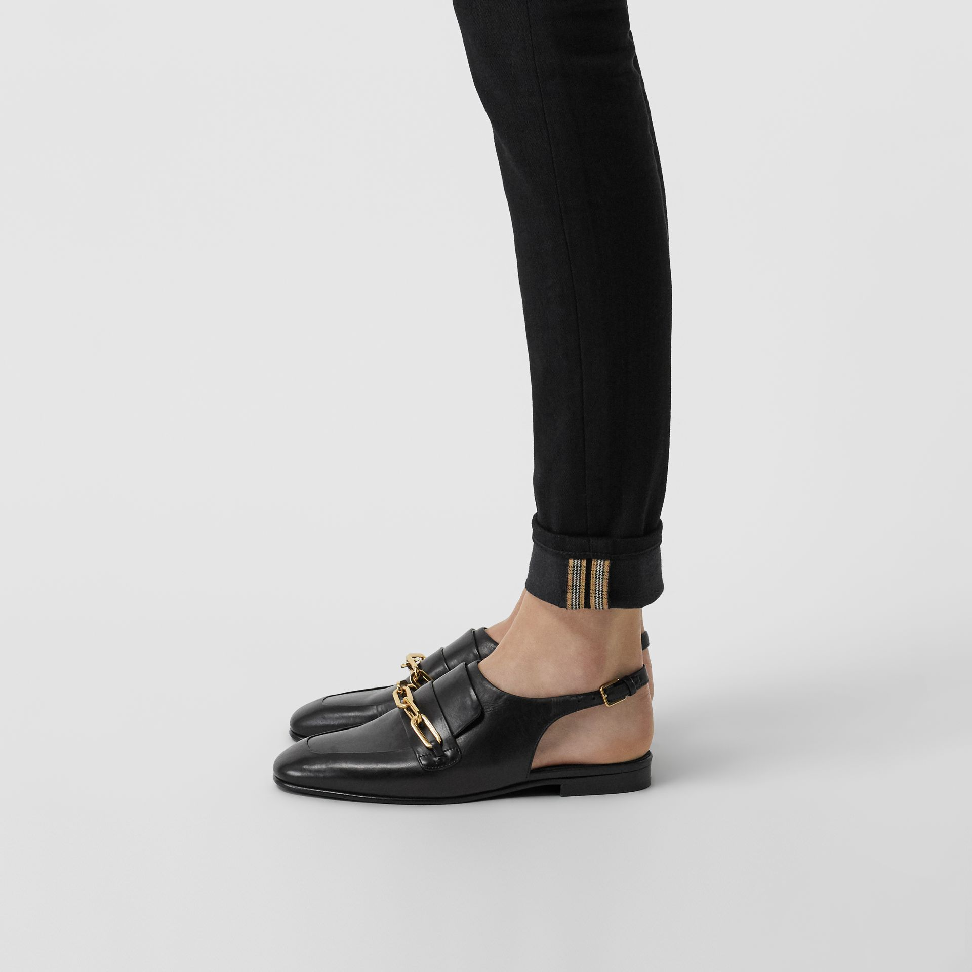 Link Detail Leather Slingback Loafers in Black - Women | Burberry United Kingdom - gallery image 2
