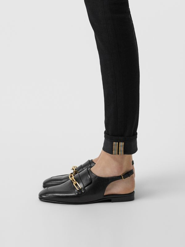 Link Detail Leather Slingback Loafers in Black - Women | Burberry - cell image 2