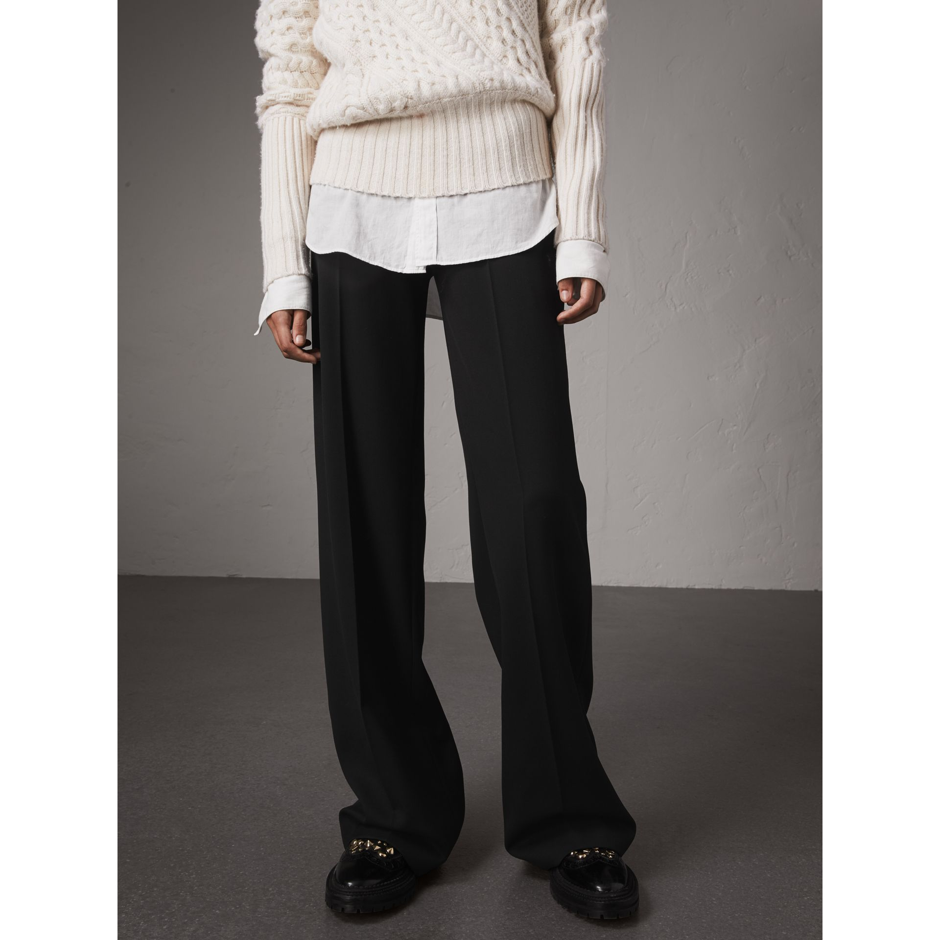 Wool Wide-leg Trousers in Black - Women | Burberry - gallery image 6