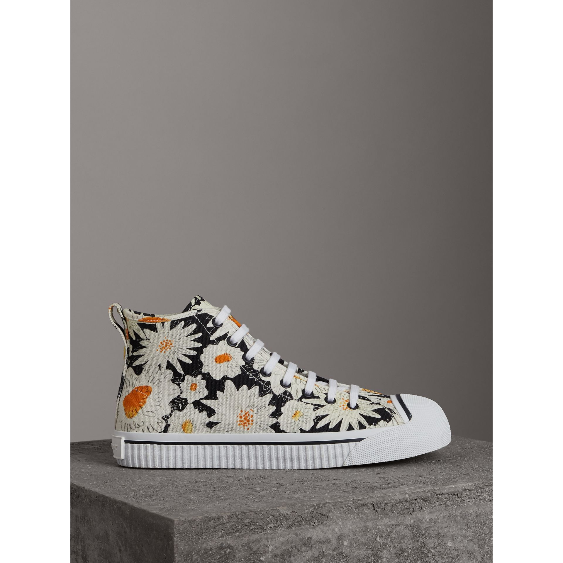 Daisy Print Canvas High-top Sneakers in Black - Men | Burberry Australia - gallery image 3