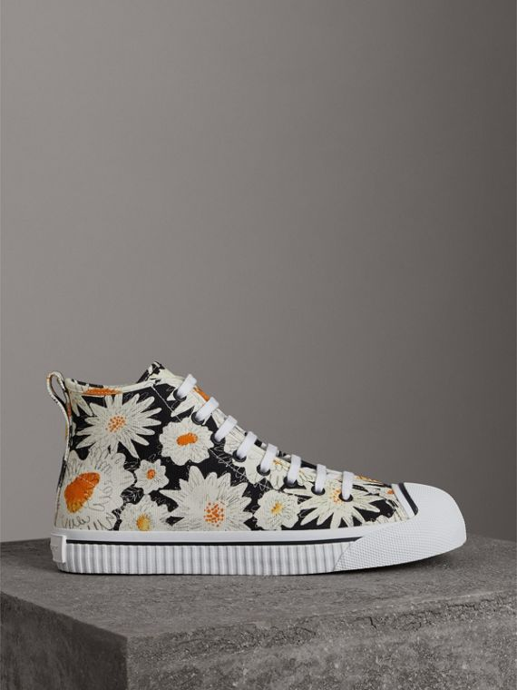 Daisy Print Canvas High-top Sneakers in Black - Men | Burberry - cell image 3