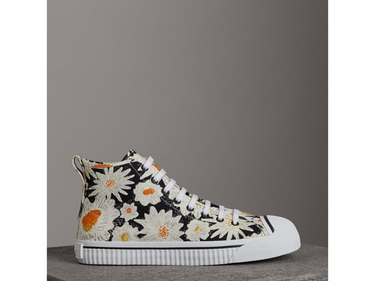 Daisy Print Canvas High-top Sneakers in Black - Men | Burberry - cell image 4