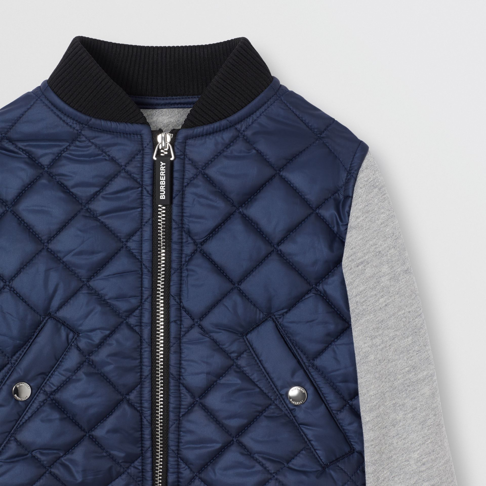 Contrast Sleeve Diamond Quilted Bomber Jacket in Grey Melange - Children | Burberry - gallery image 4
