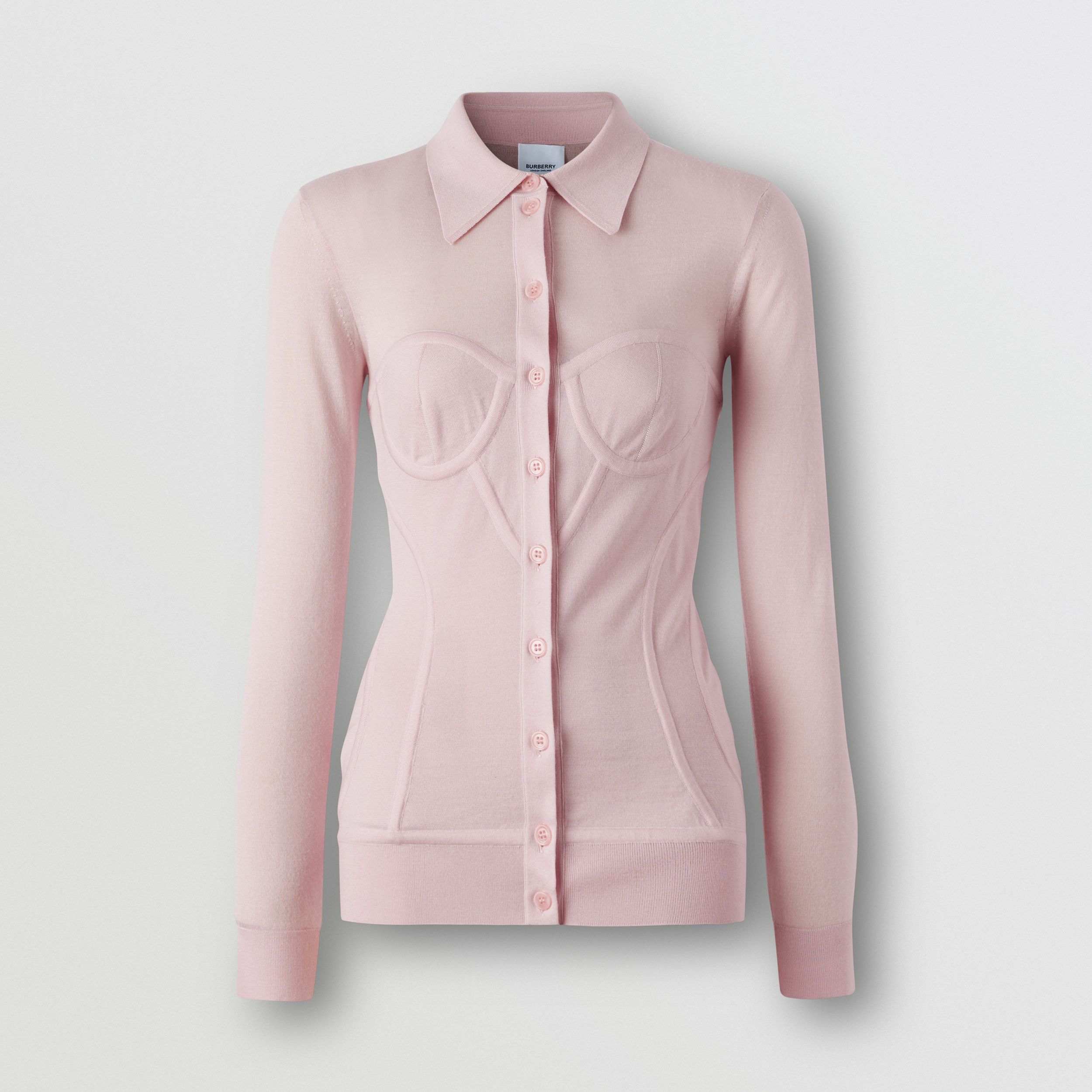 Corset Detail Knit Cashmere Silk Cardigan in Pale Pink - Women | Burberry - 4