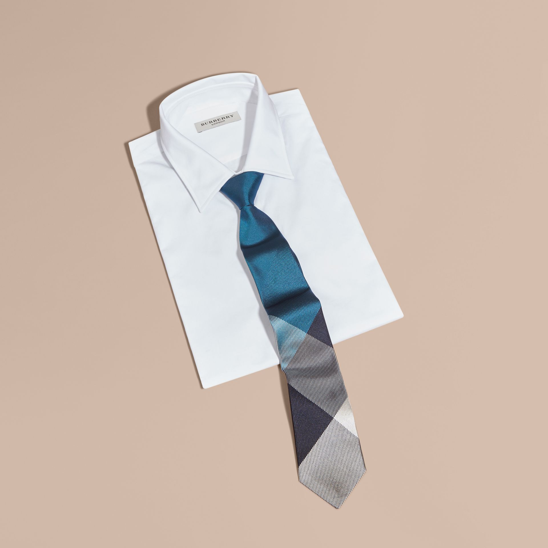 Mineral blue Modern Cut Check Jacquard Silk Tie Mineral Blue - gallery image 3