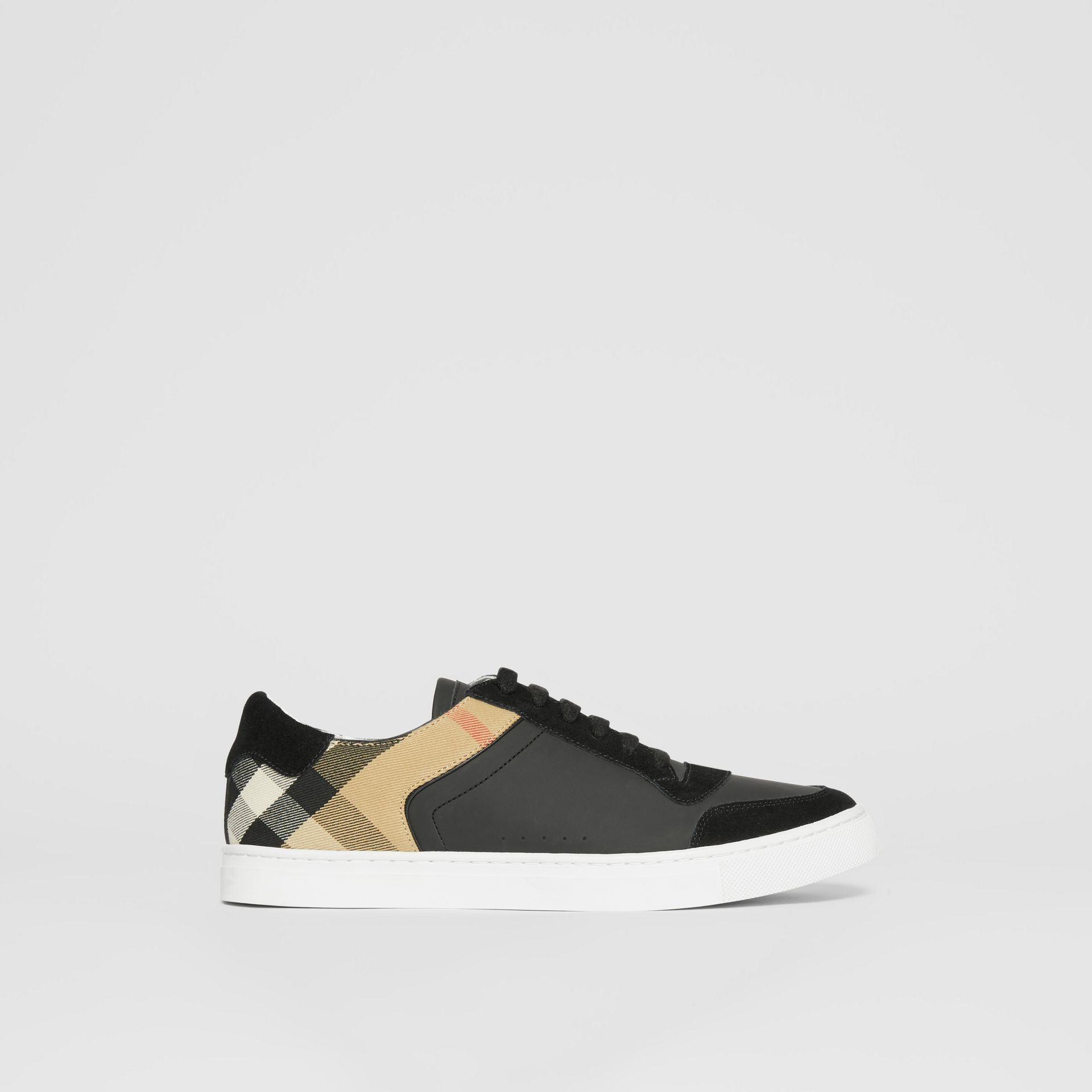 Leather, Suede and House Check Sneakers in Black - Men | Burberry United States - gallery image 5