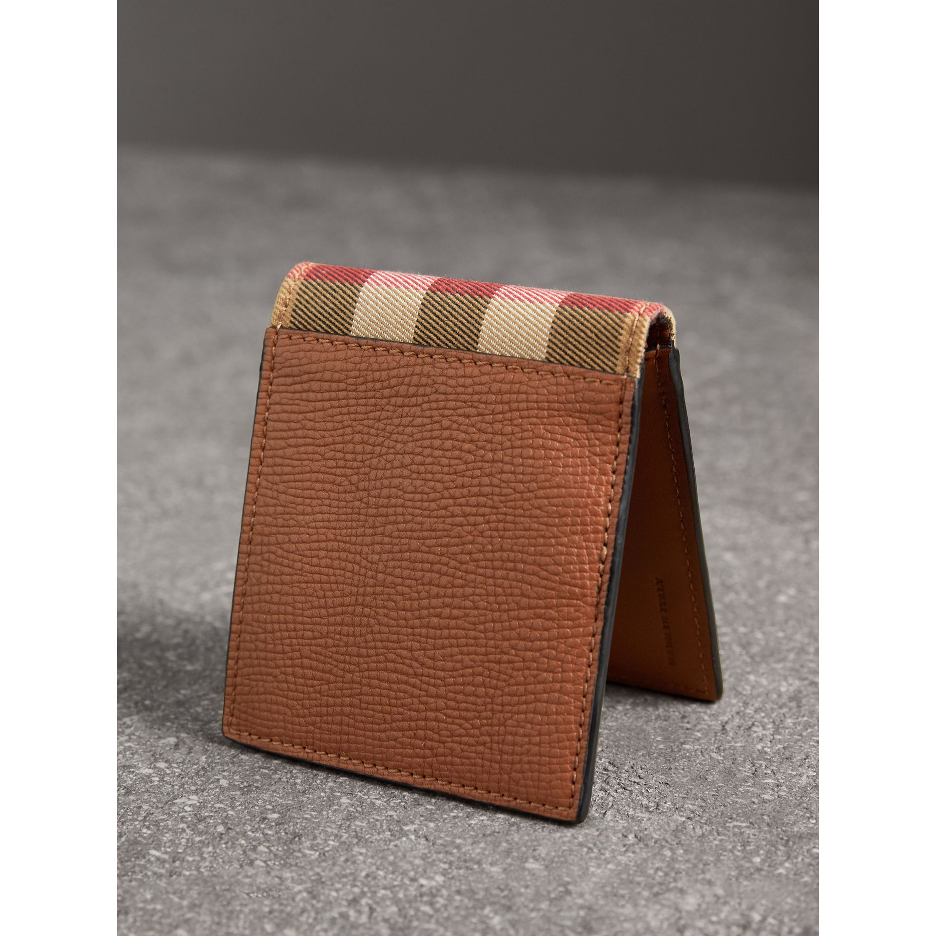 Leather and House Check International Bifold Wallet in Chestnut Brown | Burberry Australia - gallery image 2