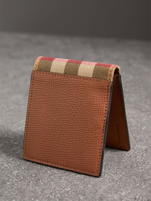 Leather and House Check International Bifold Wallet in Chestnut Brown | Burberry - cell image 2