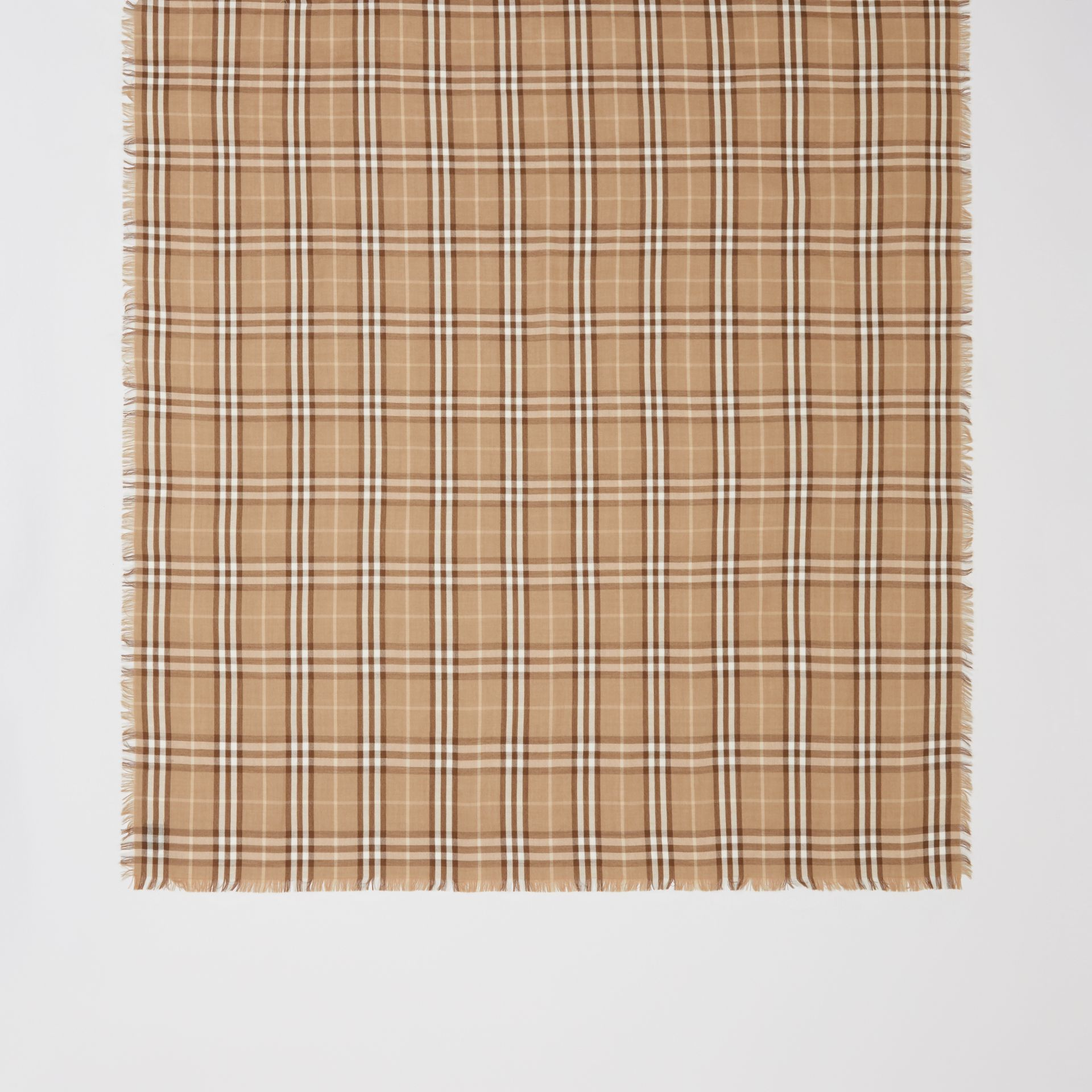 Vintage Check Lightweight Cashmere Scarf in Mid Camel | Burberry United Kingdom - gallery image 4