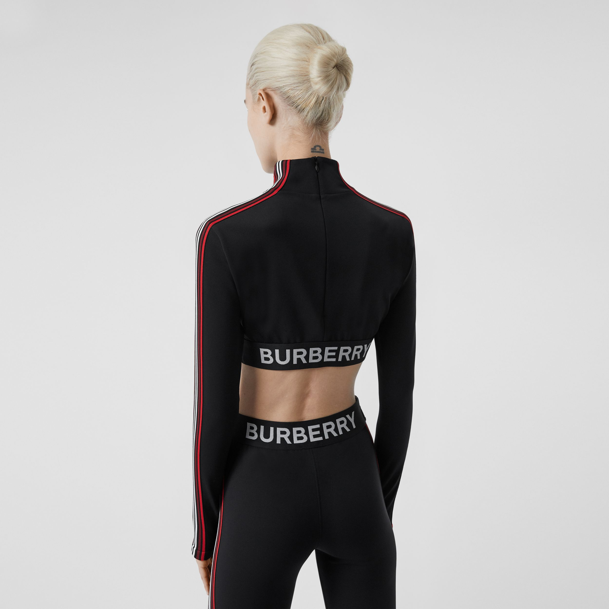 Logo Graphic Stretch Jersey Cropped Top in Black - Women | Burberry - 3