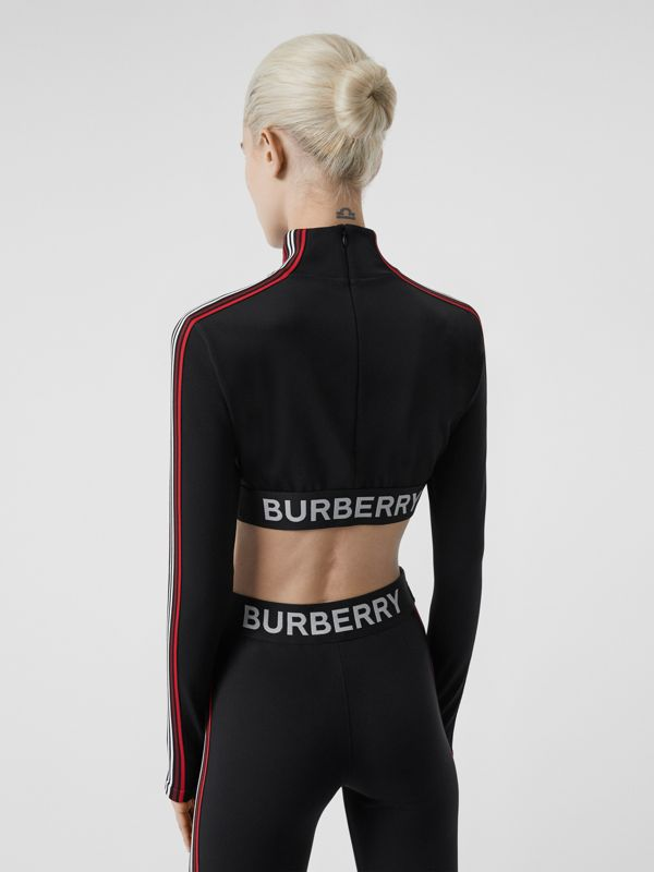 Logo Graphic Stretch Jersey Cropped Top in Black - Women | Burberry Hong Kong S.A.R - cell image 2