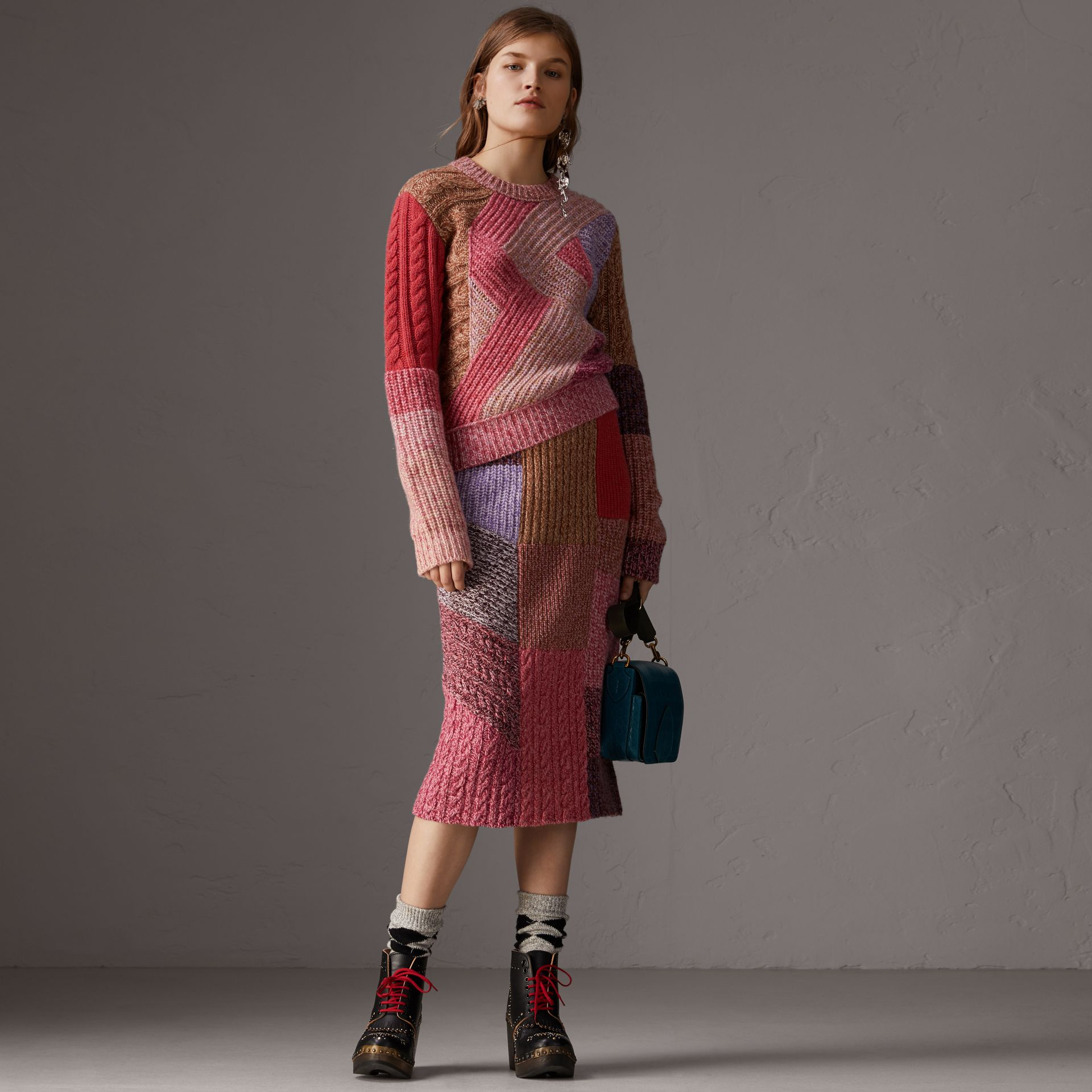 Cashmere-wool Mouliné  Patchwork Sweater in Multicolour - Women | Burberry Australia - gallery image 0
