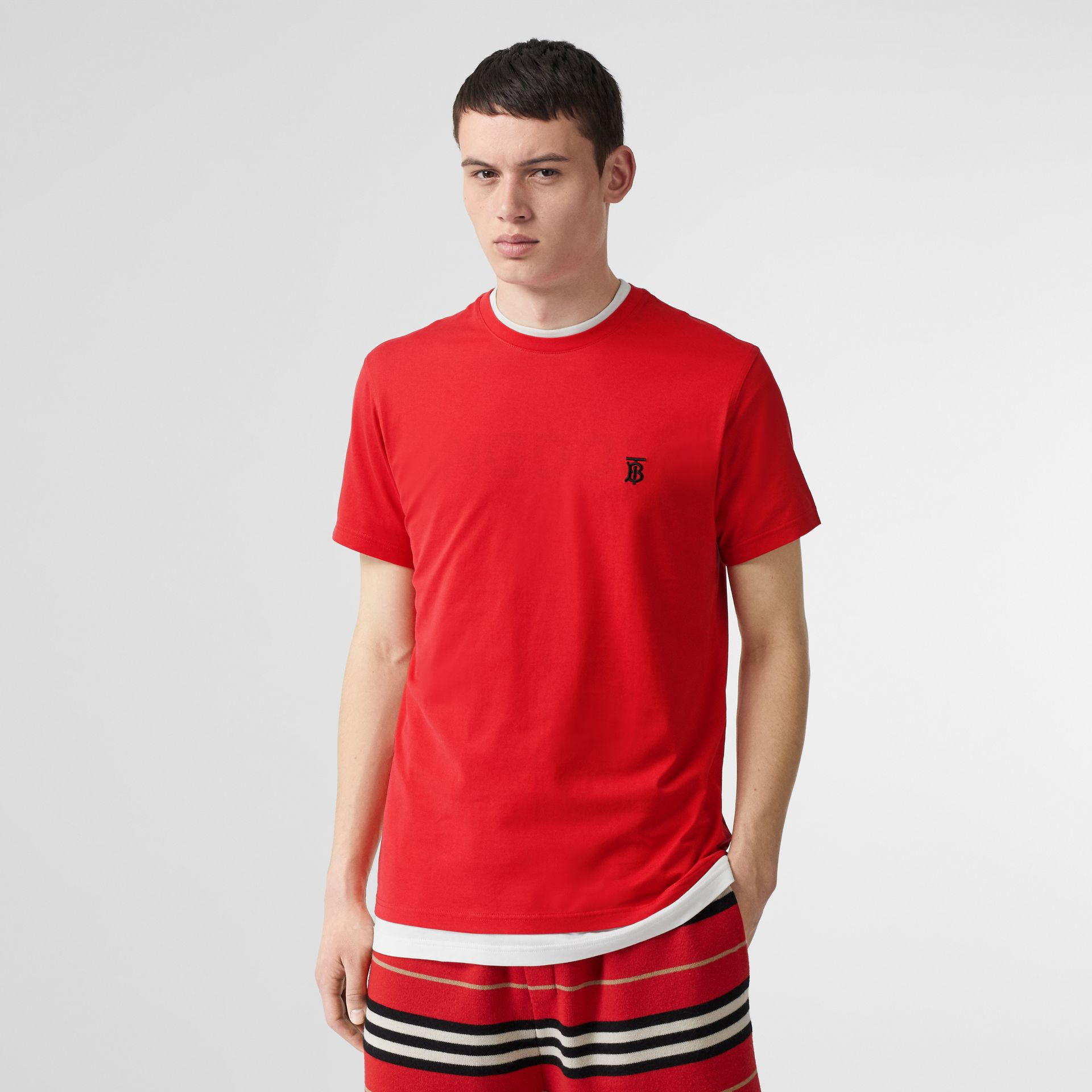 Monogram Motif Cotton T-shirt in Bright Red - Men | Burberry United Kingdom - gallery image 4