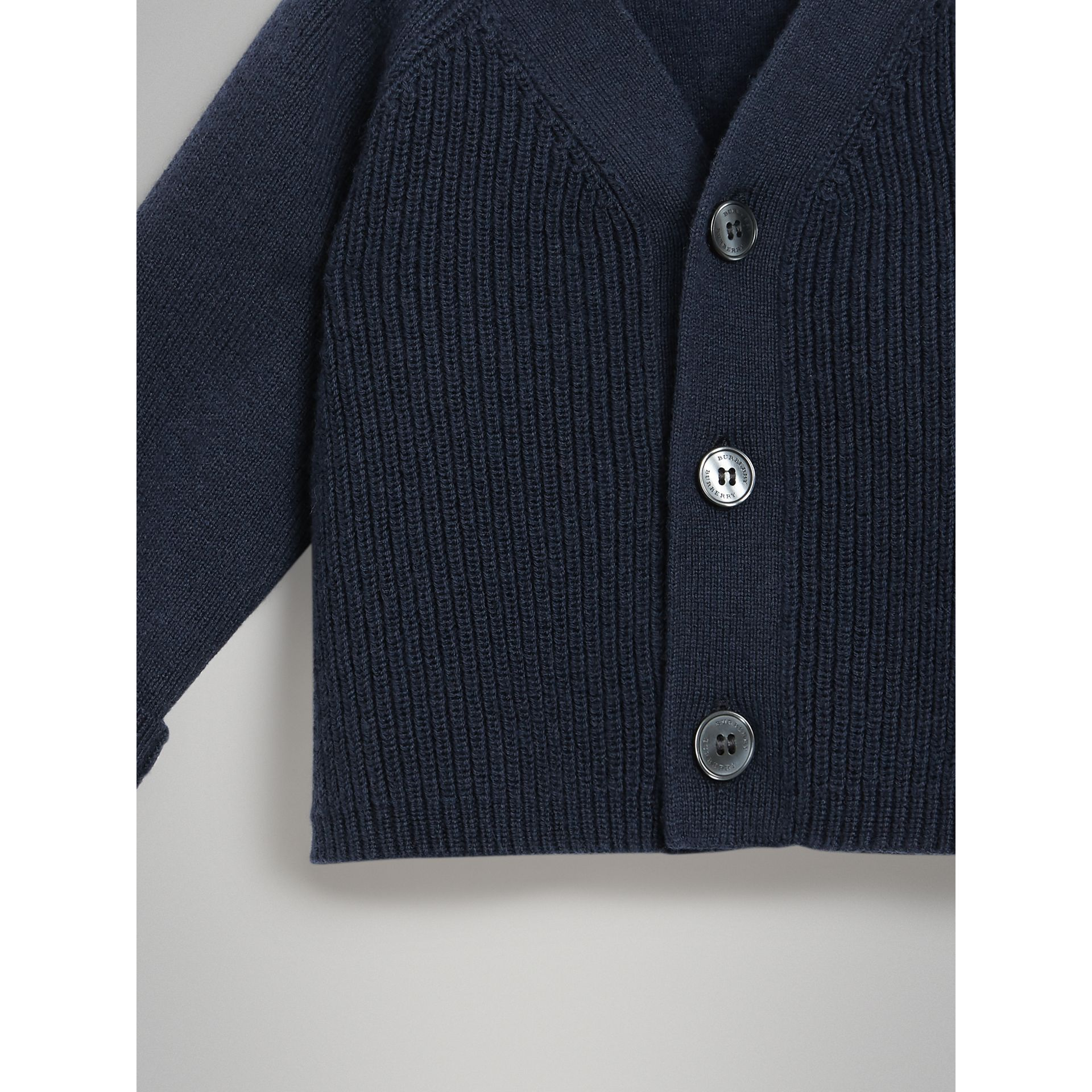 Cashmere Cotton Knit Cardigan in Navy | Burberry - gallery image 4