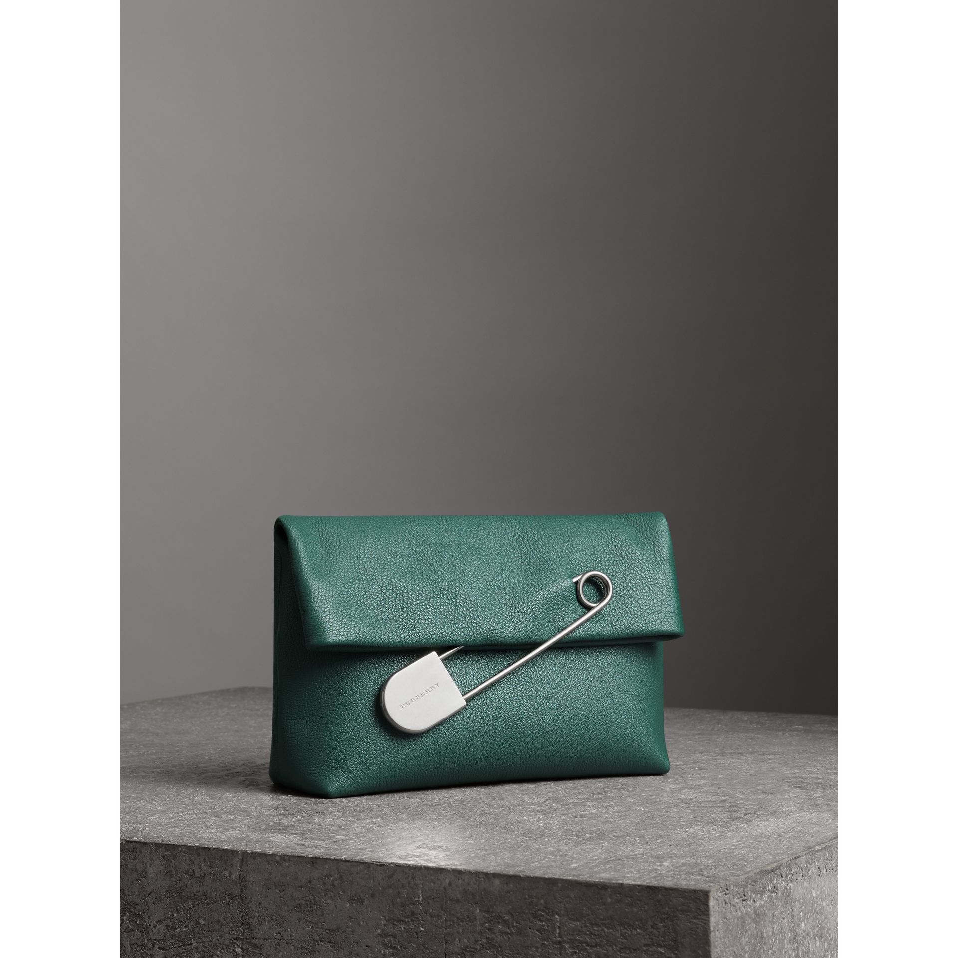 The Medium Pin Clutch in Leather in Sea Green - Women | Burberry - gallery image 6