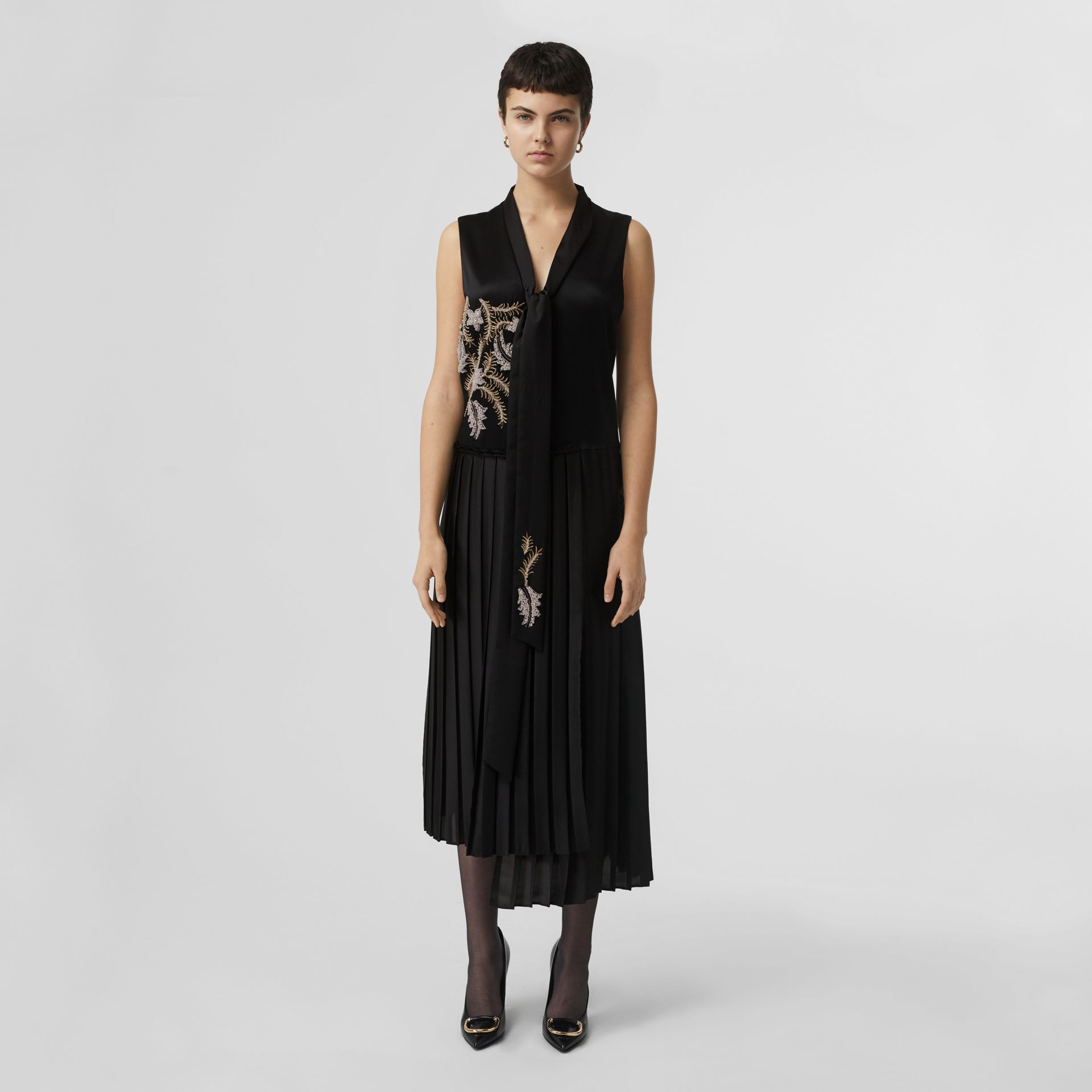 Bead-embellished Silk Satin Asymmetric Dress in Black - Women | Burberry United Kingdom - gallery image 4