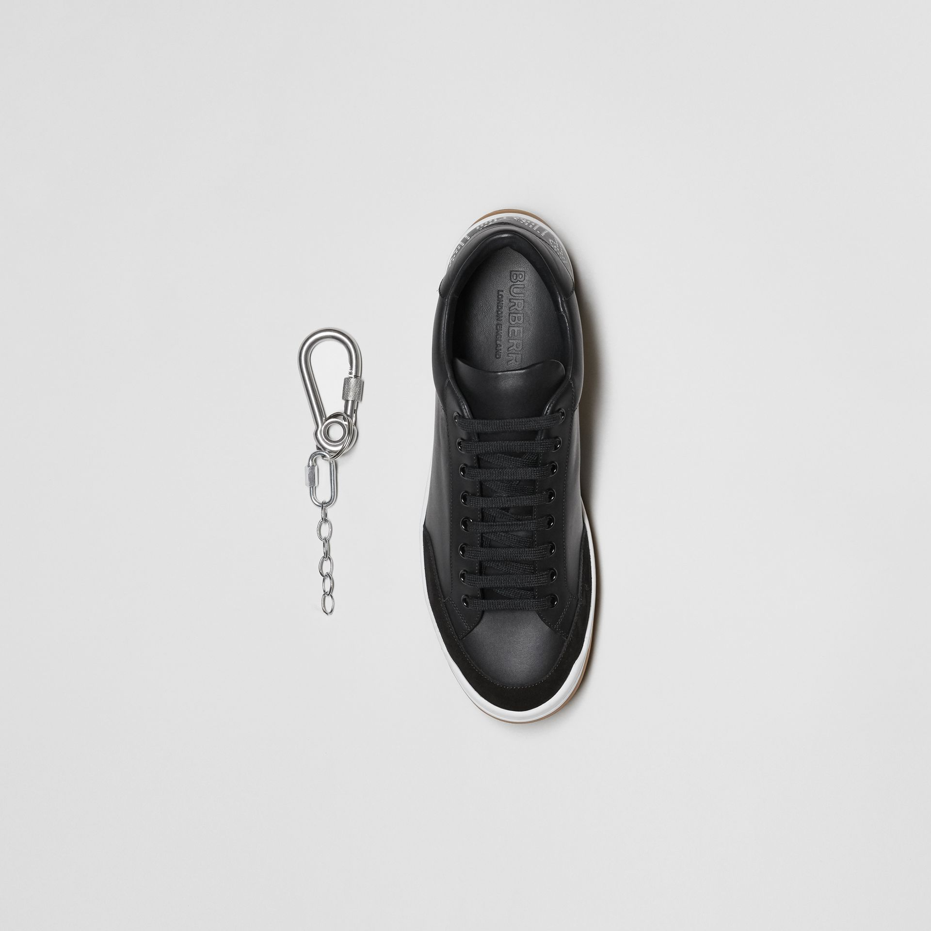 Perforated Logo Leather Tennis Sneakers in Black/optic White - Men | Burberry - gallery image 6