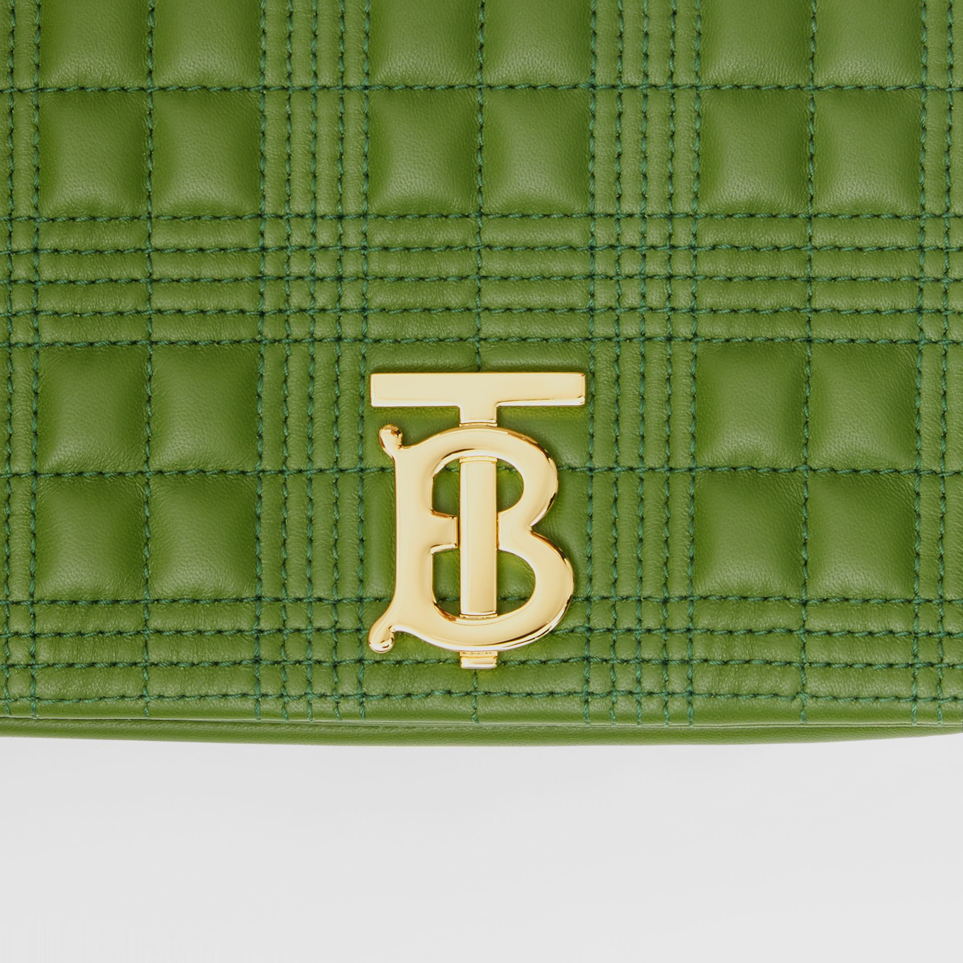 Small Quilted Check Lambskin Lola Bag in Green Forest - Women | Burberry - gallery image 1