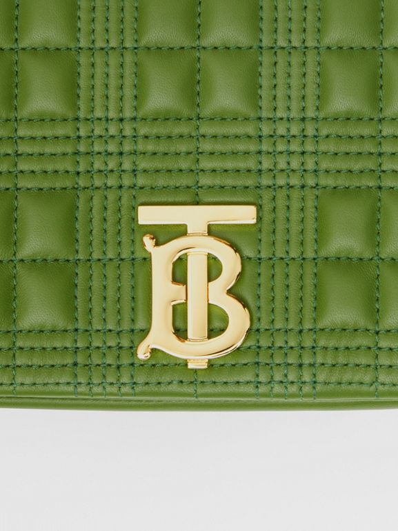 Small Quilted Check Lambskin Lola Bag in Green Forest - Women | Burberry - cell image 1