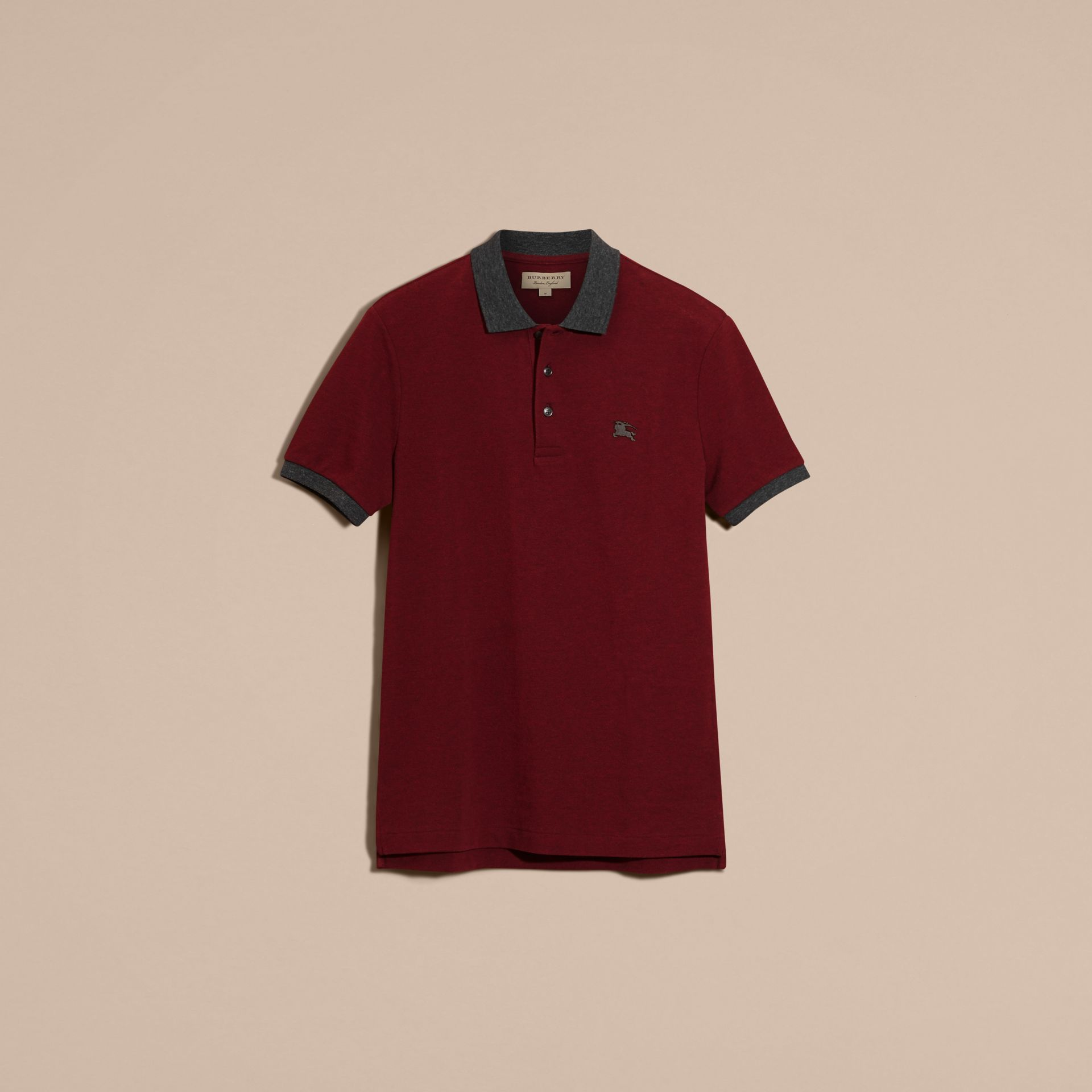 Parade red melange Contrast Colour Detail Cotton Piqué Polo Shirt Parade Red Melange - gallery image 4