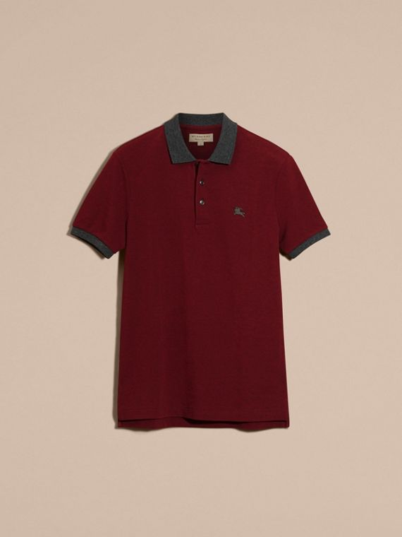 Parade red melange Contrast Colour Detail Cotton Piqué Polo Shirt Parade Red Melange - cell image 3