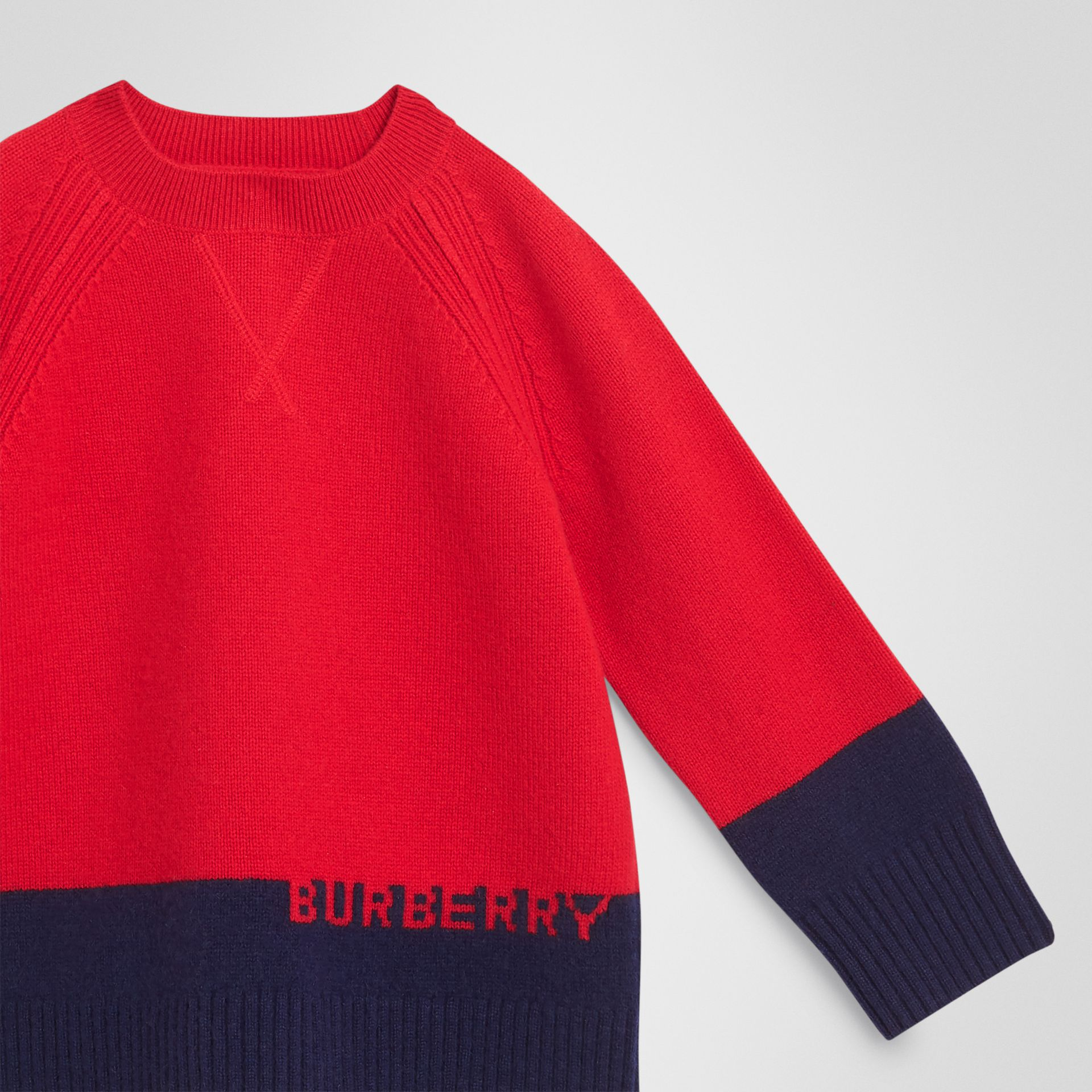 Logo Intarsia Cashmere Sweater in Bright Red - Boy | Burberry - gallery image 4