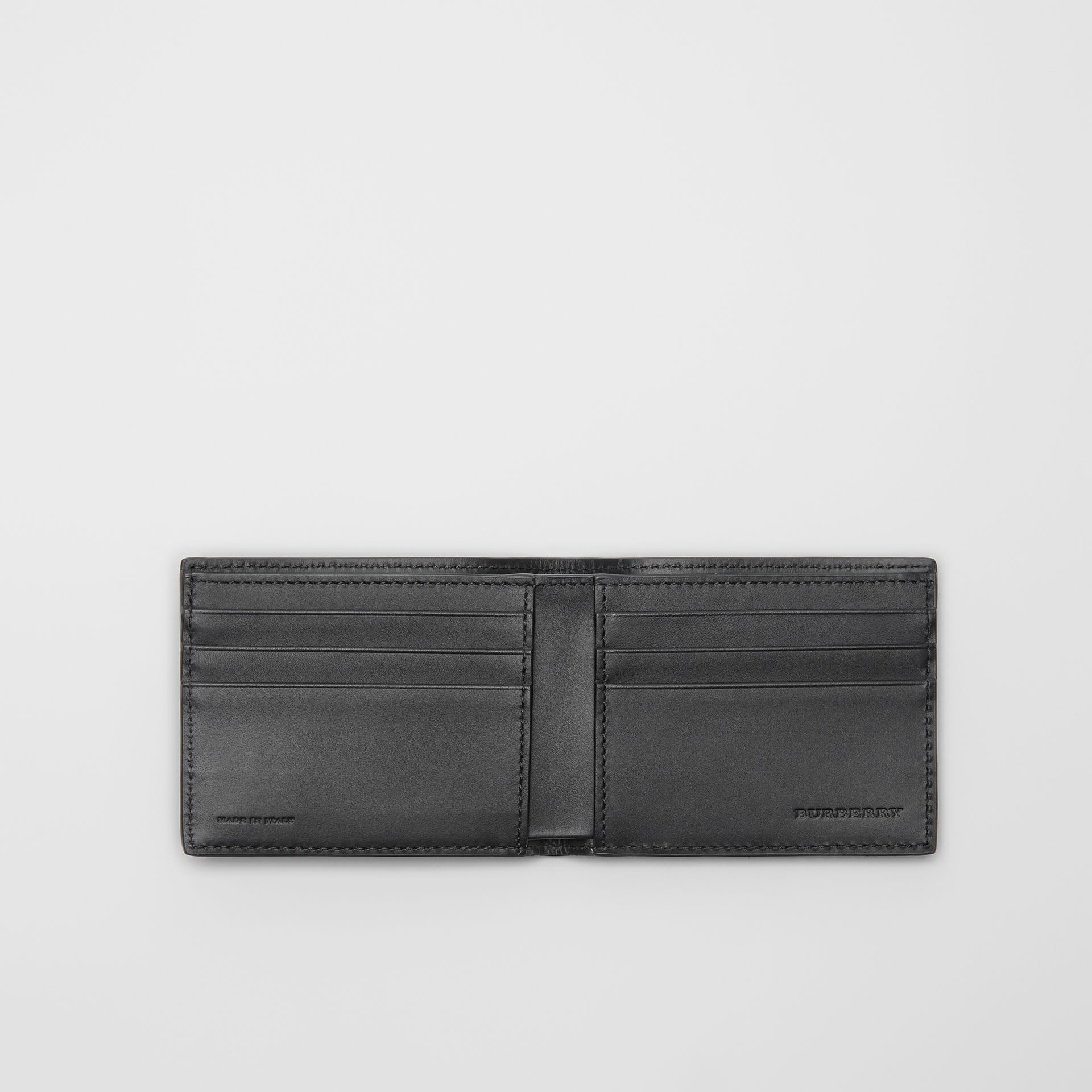 London Leather Bifold Wallet in Navy - Men | Burberry Singapore - gallery image 2