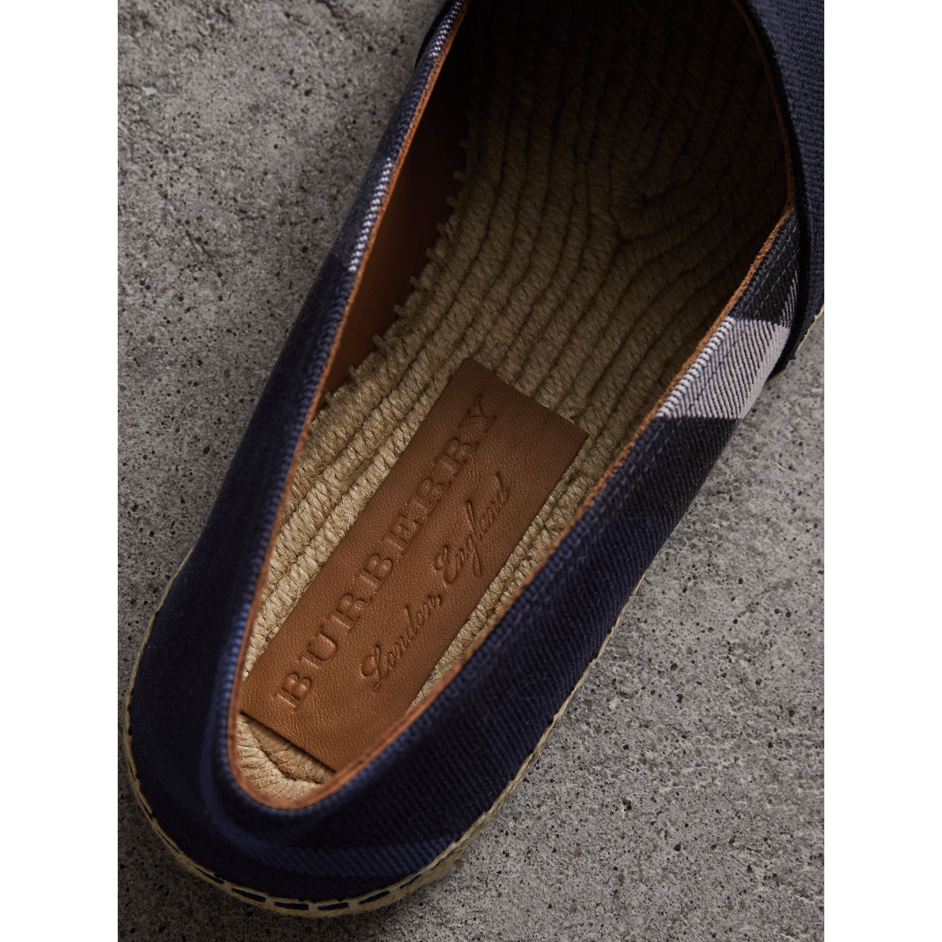 Overdyed House Check and Cotton Canvas Espadrilles in Indigo Blue - Men | Burberry United Kingdom - gallery image 1