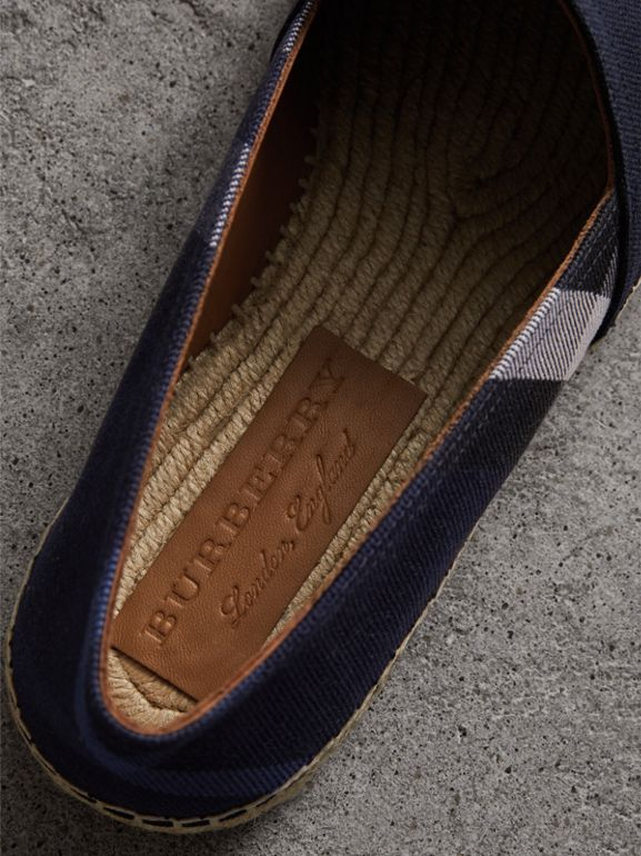 Overdyed House Check and Cotton Canvas Espadrilles in Indigo Blue - Men | Burberry Australia - cell image 1