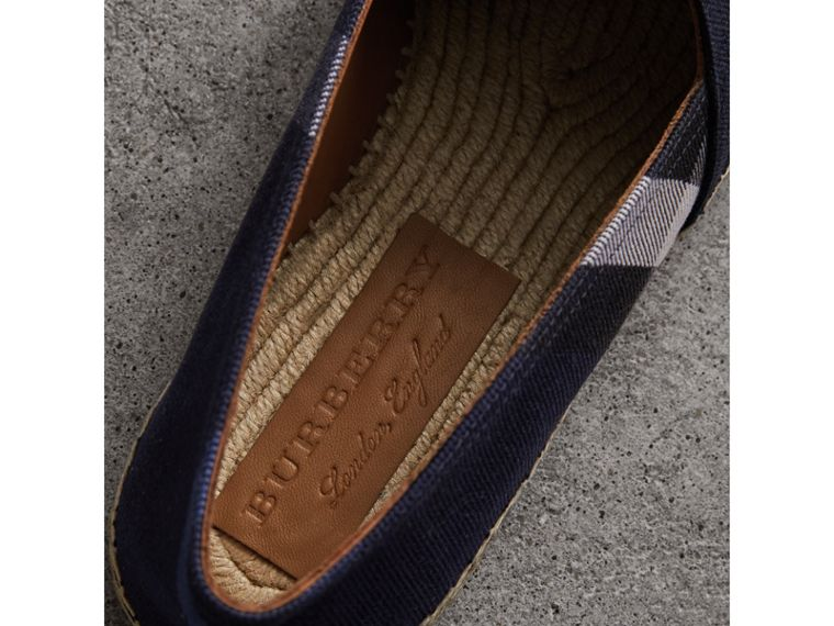 Overdyed House Check and Cotton Canvas Espadrilles in Indigo Blue - Men | Burberry United Kingdom - cell image 1