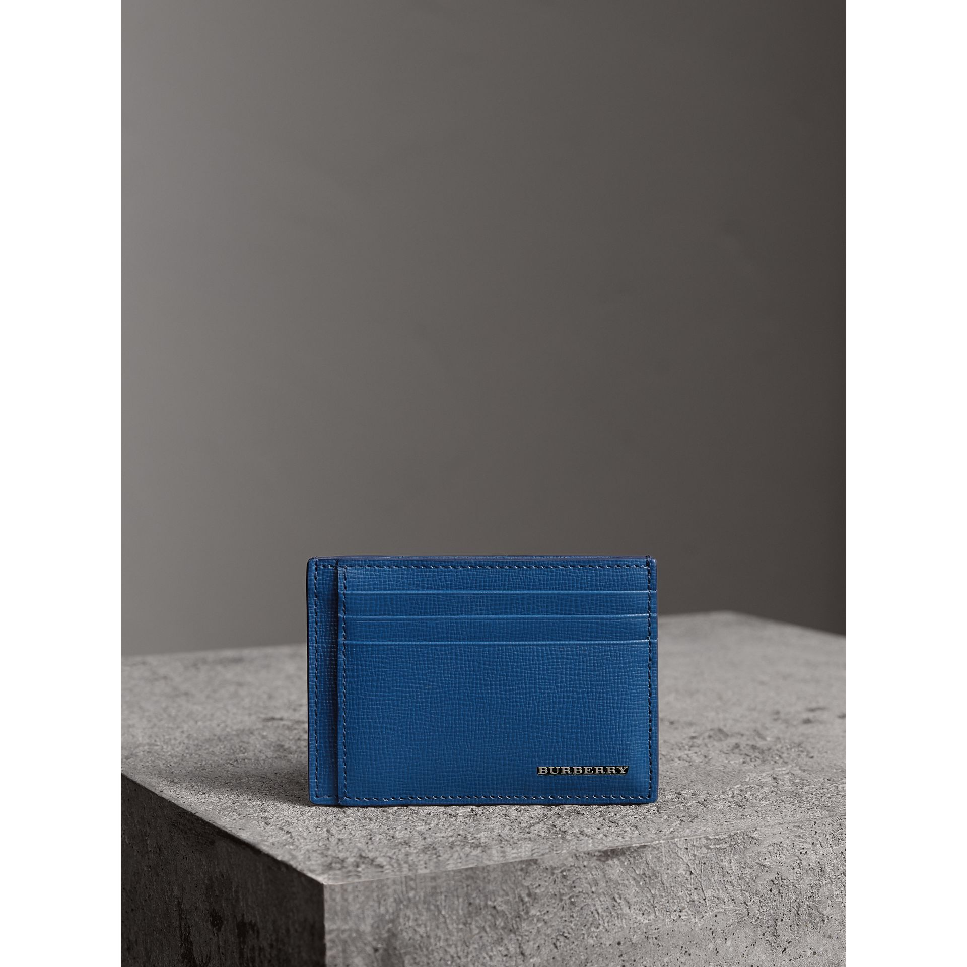 London Leather Money Clip Card Case in Deep Blue - Men | Burberry - gallery image 4