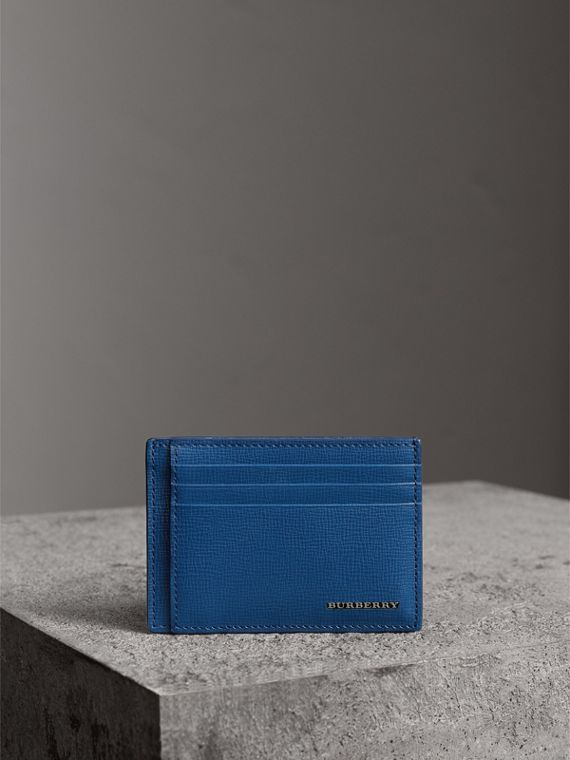 London Leather Money Clip Card Case in Deep Blue - Men | Burberry United States - cell image 3