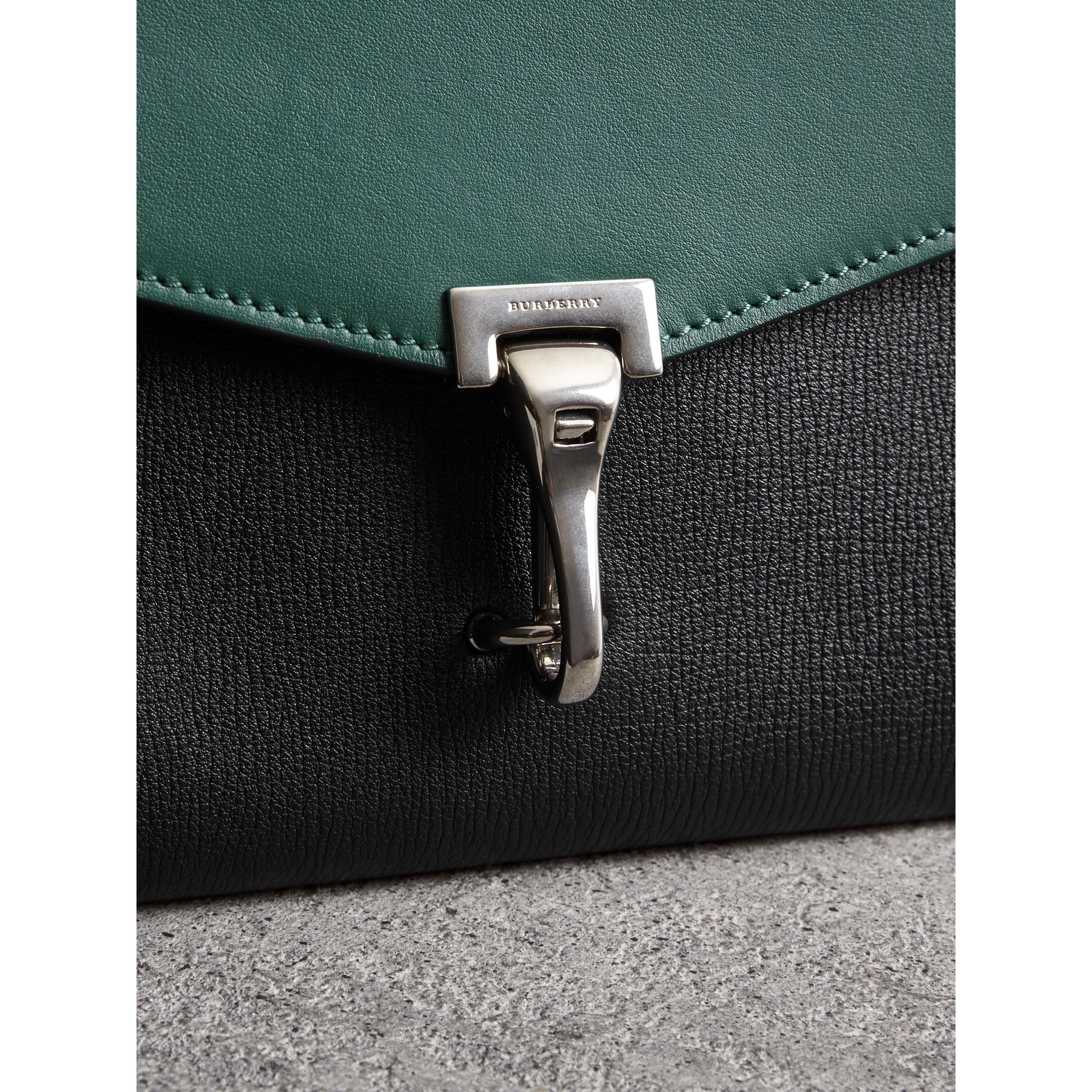 Two-tone Leather Crossbody Bag in Black/sea Green - Women | Burberry United Kingdom - gallery image 1