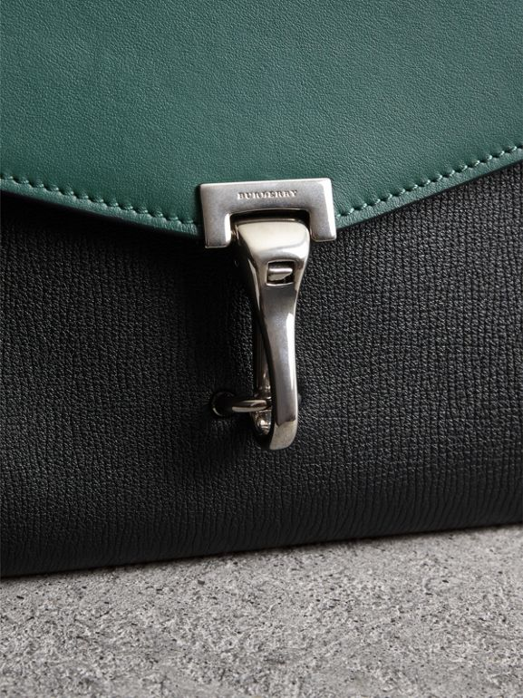Two-tone Leather Crossbody Bag in Black/sea Green - Women | Burberry - cell image 1