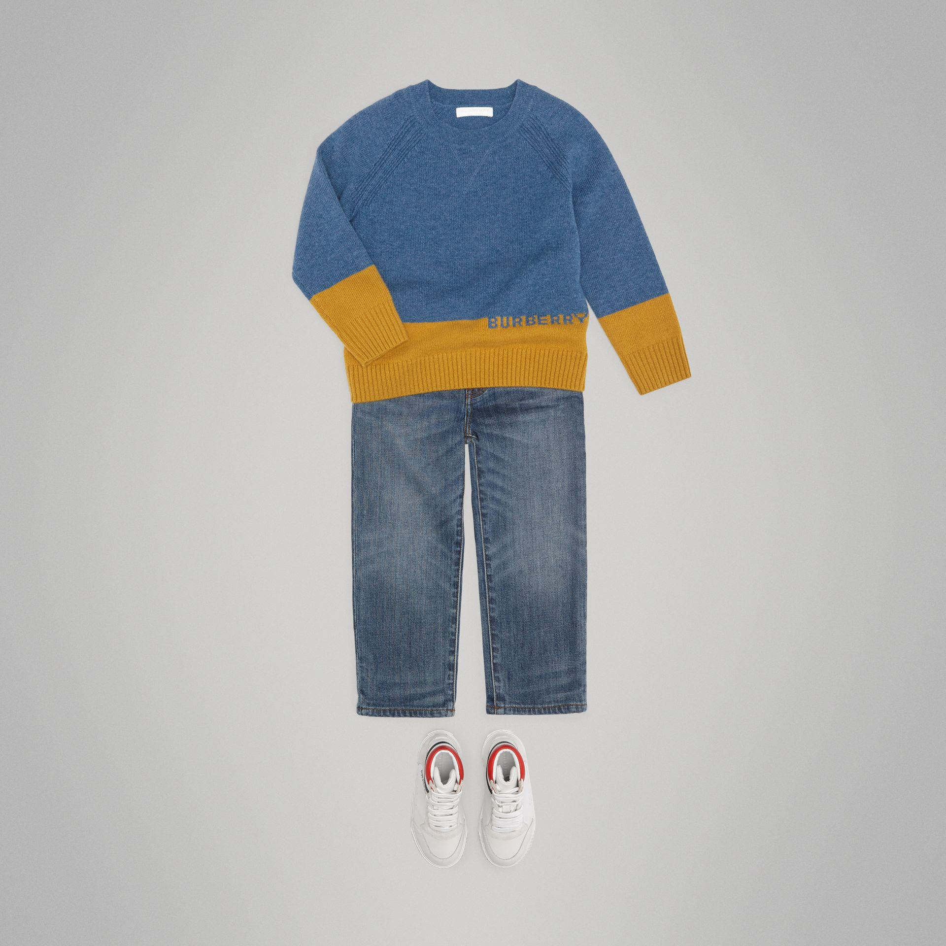 Logo Intarsia Cashmere Sweater in Dusty Blue Melange - Boy | Burberry - gallery image 2