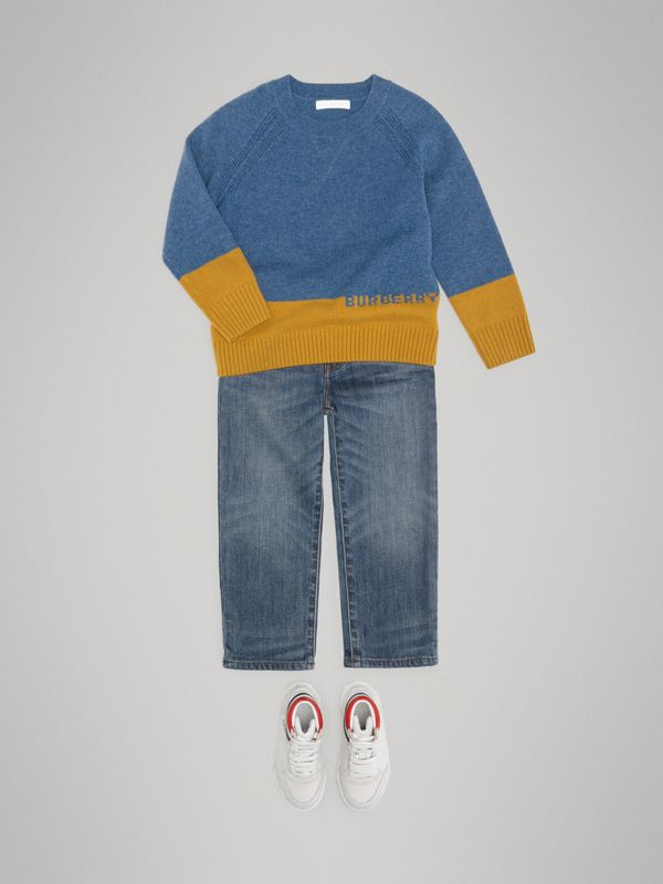 Logo Intarsia Cashmere Sweater in Dusty Blue Melange - Boy | Burberry - cell image 2