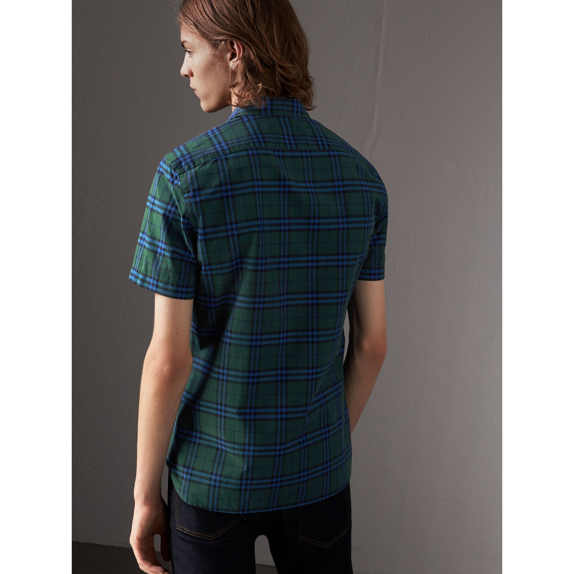 Short-sleeve Check Cotton Shirt in Forest Green - Men | Burberry - gallery image 3