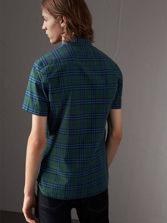 Short-sleeve Check Cotton Shirt in Forest Green - Men | Burberry - cell image 2