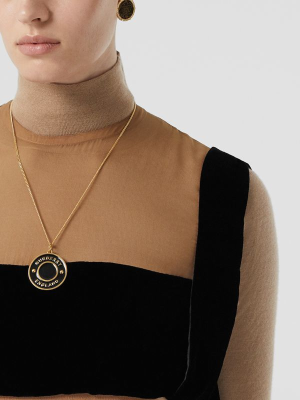 Logo Medallion Gold-plated Chain Necklace in Light Gold/enamel - Women | Burberry - cell image 2
