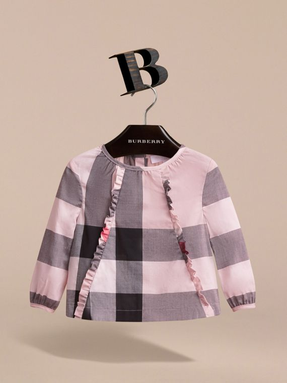 Ruffle Detail Check Cotton Top in Vintage Pink | Burberry - cell image 2