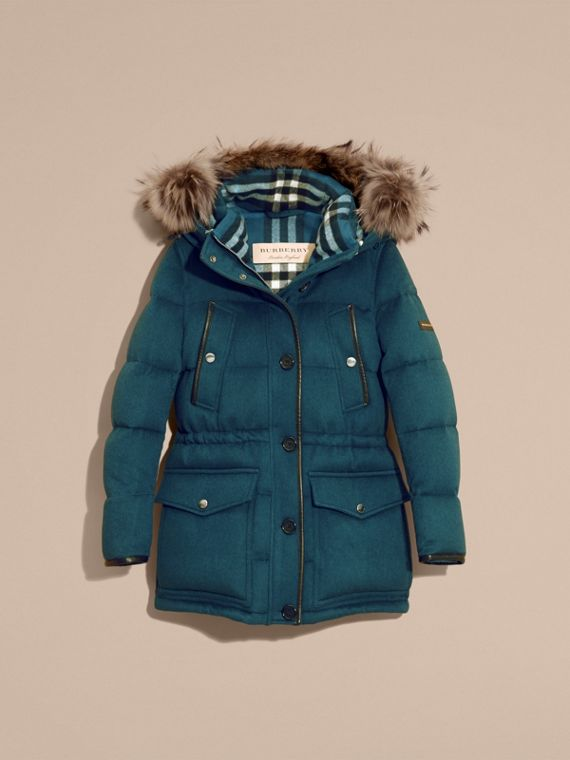 Mineral blue Down-filled Cashmere Coat with Detachable Fur Trim Mineral Blue - cell image 2