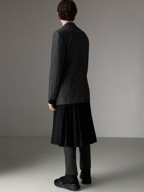 Pinstriped Wool Blend Twill Tailored Jacket in Dark Grey | Burberry Australia - cell image 2
