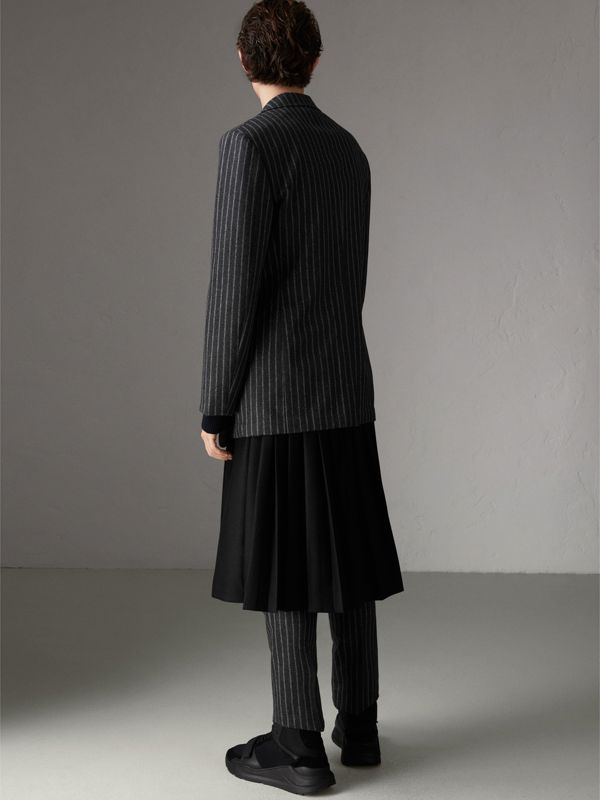 Pinstriped Wool Blend Twill Tailored Jacket in Dark Grey | Burberry Singapore - cell image 2