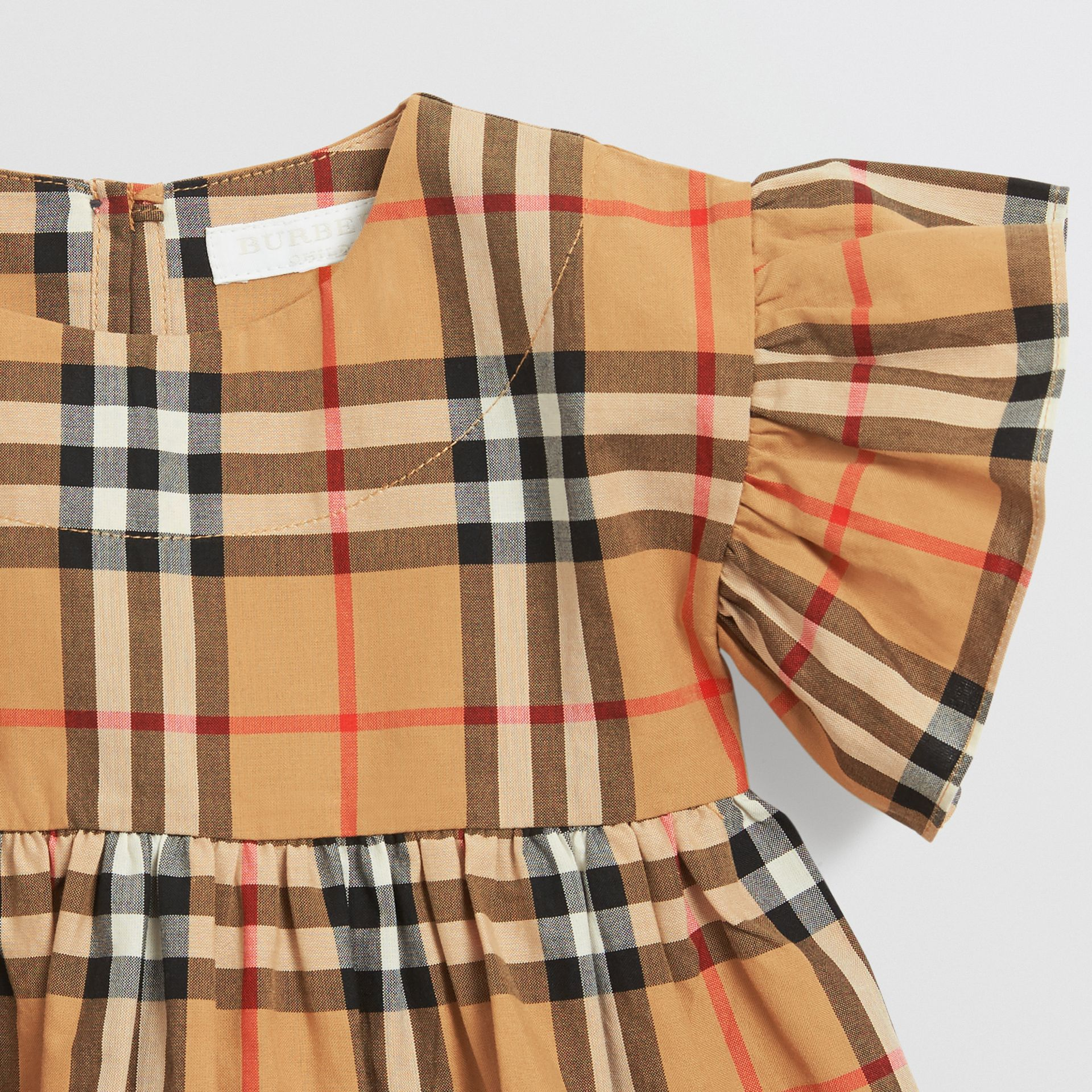 Ruffle Detail Vintage Check Dress with Bloomers in Antique Yellow - Children | Burberry - gallery image 3
